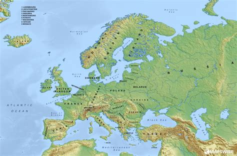map of europe map free physical maps of europe mapswire