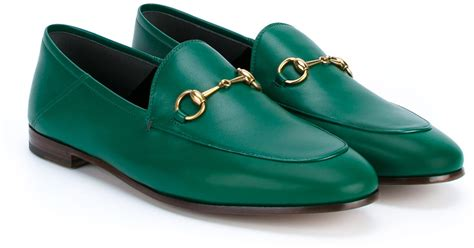green gucci loafers lyst gucci jordaan loafers in green