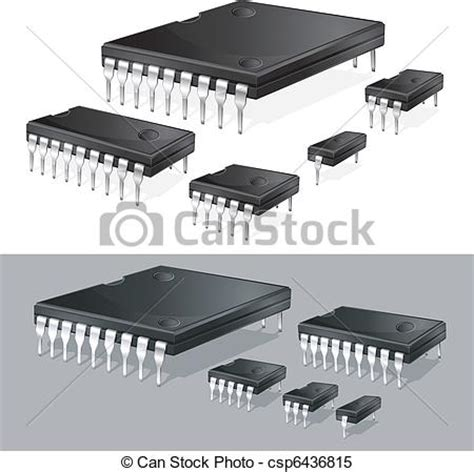 integrated circuit chip clipart clipart vector of computer chips illustration of computer microchips csp6436815 search