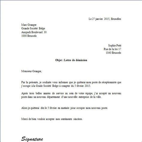 Modèle De Lettre De Démission Gratuite Québec Exemple De Lettre De D 233 Mission En Belgique Covering Letter Exle