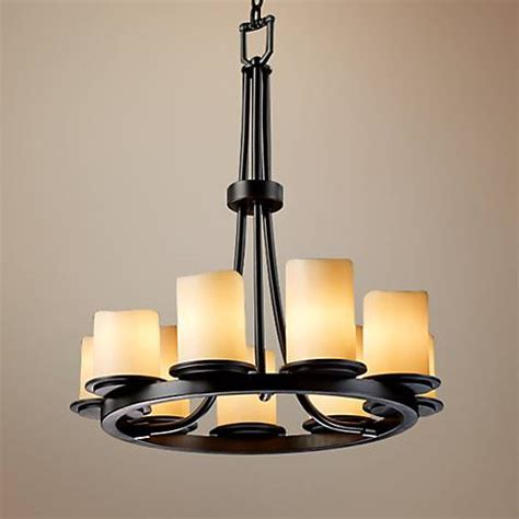 faux candle chandelier lighting 9 light ring black creme faux candle chandelier u1143
