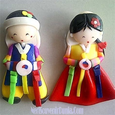 Magnet Kulkas Clay Korea Sepasang jual souvenir magnet kulkas boneka korea