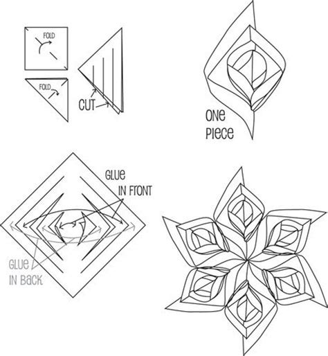 Snowflake Paper Folding - 3d paper snowflake patterns tools square paper you can