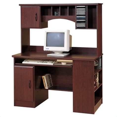 south shore park wood computer desk with hutch in cherry 48796