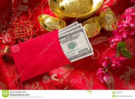 new year decoration ang pow new year ang pow with dollars inside stock photo