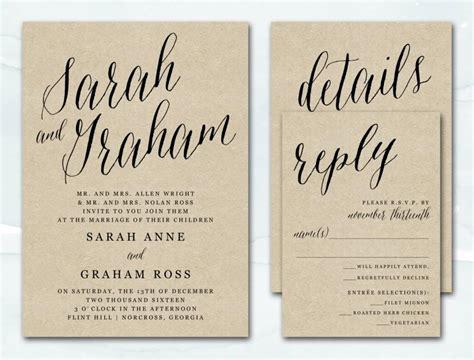 printable rustic fonts printable wedding invitation rustic kraft wedding