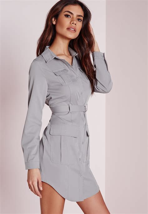 Amanda Dress Grey 1 lyst missguided exclusive belted shirt dress grey in gray