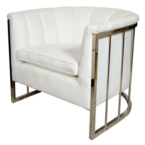 Milo Baughman Armchair by Sophisticated Modernist White Channel Back Armchair By