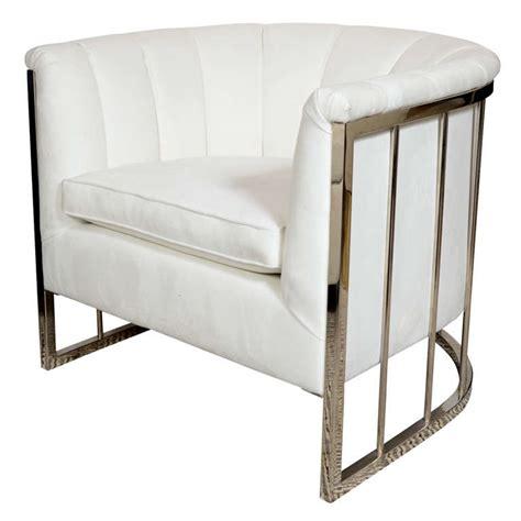 Milo Baughman Armchair by Sophisticated Modernist White Channel Back Armchair By Milo Baughman At 1stdibs