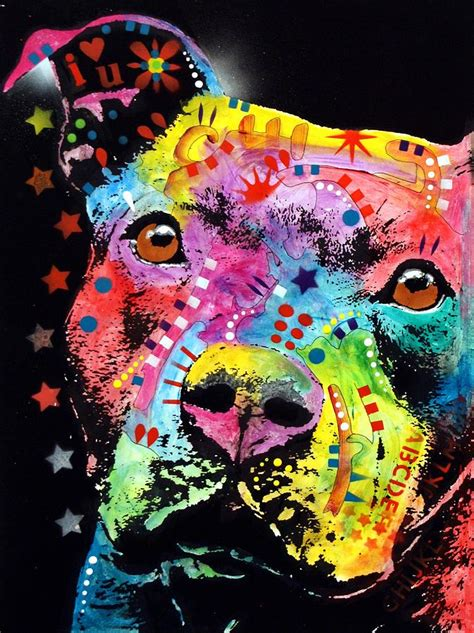 pit paint thoughtful pitbull i u painting by dean russo