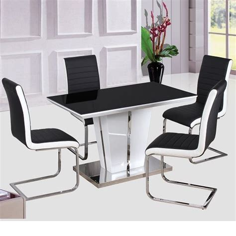 High Chair Dining Table High Gloss Dining Table Glass Top 120cm With 4 Chair High Gloss