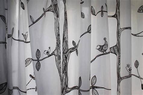 ikea tree curtains ikea curtain pair white black 2 panels semi sheer leaf