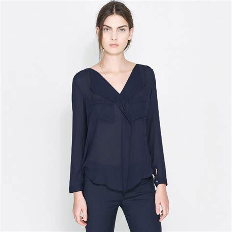 Poplin Shirt Blouse Blouse Korea Blouse Bangkok Fashion Bkk Import womens navy blue blouse trendy clothes