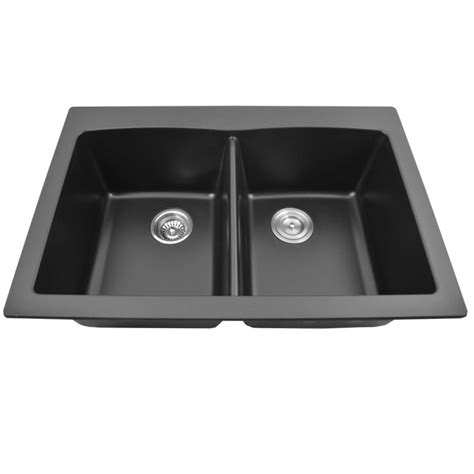 black pearl sinks top mount granite composite 50 50 sink black pearl 33