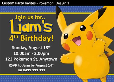 pikachu birthday card template make your own birthday invitations