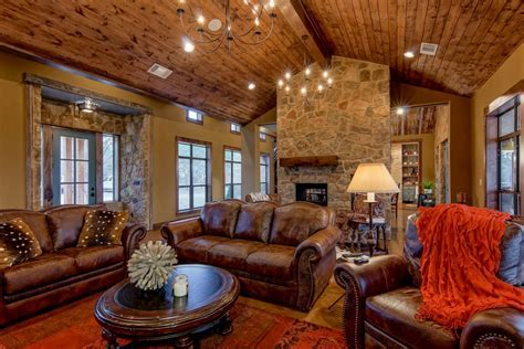 Rustic Living Room Features Brown Leather Furniture   HGTV