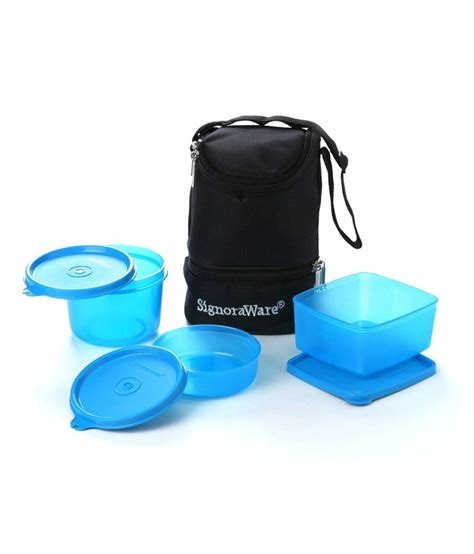 Trio Lunch Box signoraware trio lunch box with bag 525 blue buy