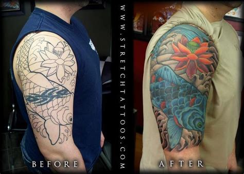 stretched tattoos tattoos stretch koi half sleeve cover up
