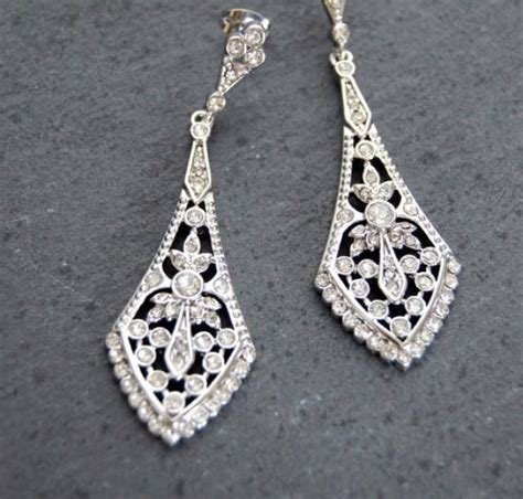Chandelier Earrings Etsy Bridal Chandelier Earring Rhinestone Earrings Wedding