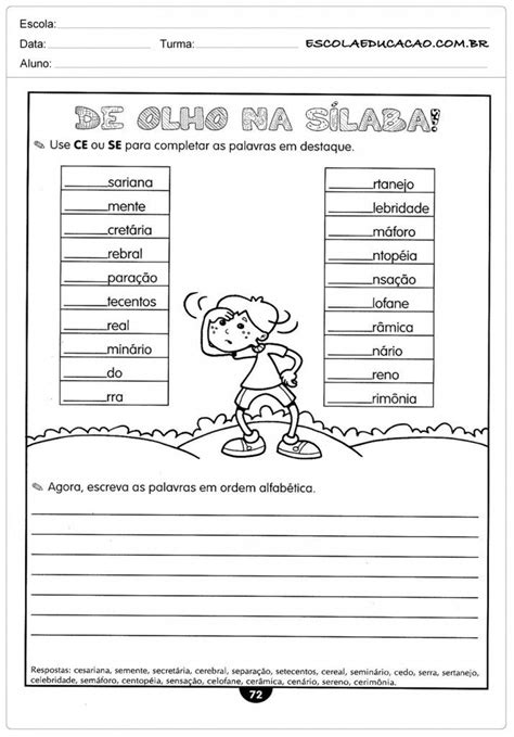 Atividades de Português 4º ano - CE ou SE   Marisa a