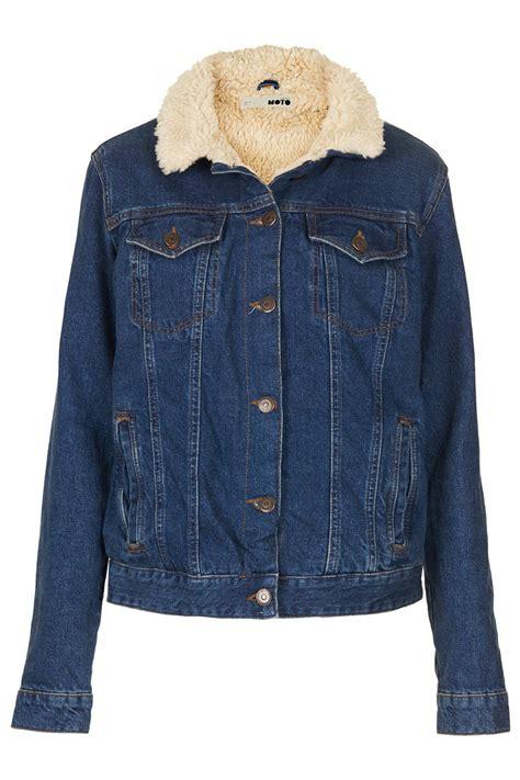 Bbb New Vintage Denim Jacket Intl lyst topshop moto vintage borg denim jacket in blue