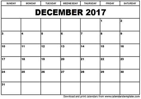 december 2017 calendar printable template with holidays
