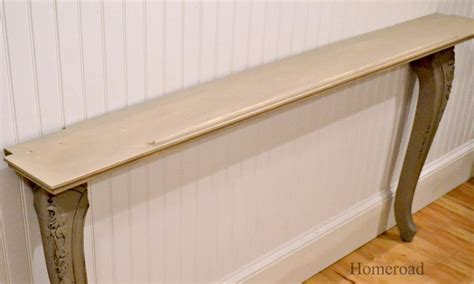 diy sofa table legs two recycled table legs and a wall shelf become a narrow wall or sofa table home decorating diy