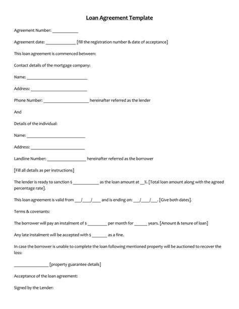 45 Loan Agreement Templates Sles Write Perfect Agreements Personal Agreement Contract Template