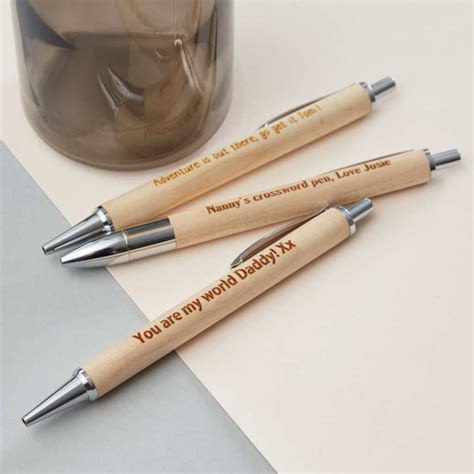 personalised engraved wooden pen by pink biscuits
