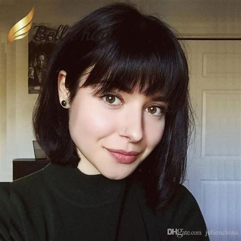 can women with small forheads wear bangs short bob with bangs virgin hair straight naturalblack