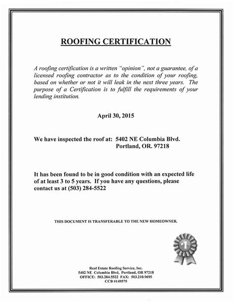 roof certification form template roof certificate frp light roof sheet for