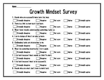 printable growth mindset questionnaire pinterest the world s catalog of ideas