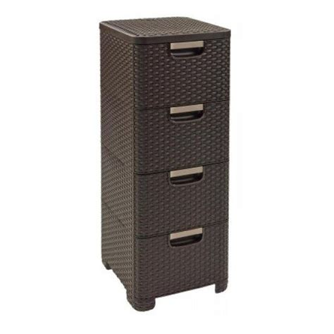 Brown Plastic Drawers Curver Rattan Plastic Cabinet With 4 Drawers Grey Brown