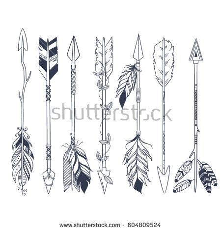 native american arrow tattoo designs arrow set american indian style stock vector
