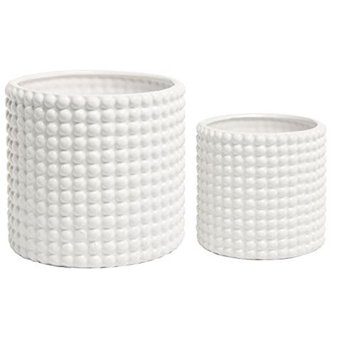 white ceramic planters set of 2 white ceramic vintage style hobnail textured flower planter pots storage jars