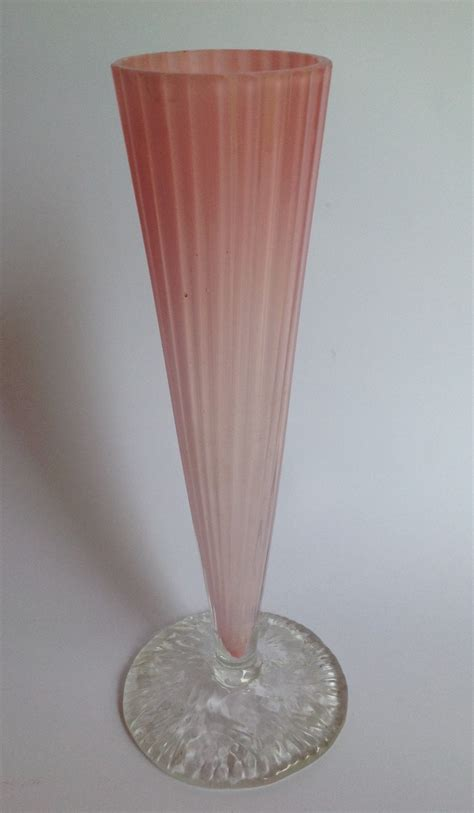 Pale Pink Vase by Pale Pink Cased Glass Vase With Applied Circular