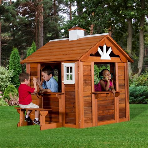 children playhouse kids play fun outdoor garden log cabin
