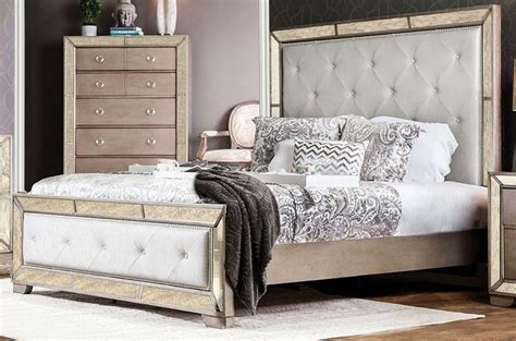 silver bedroom furniture sets loraine silver upholstered panel bedroom set from 17062 | cm7195 b 1