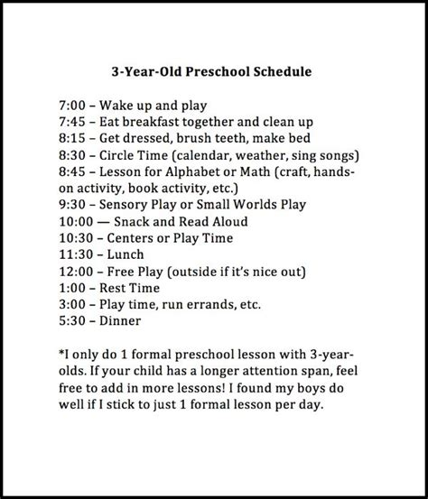 what time should a 3 year old go to bed weekly preschool planner