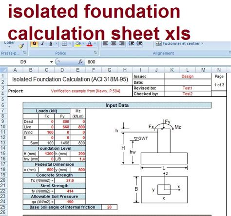 combined footing design free xls isolated foundation calculation sheet xls civil