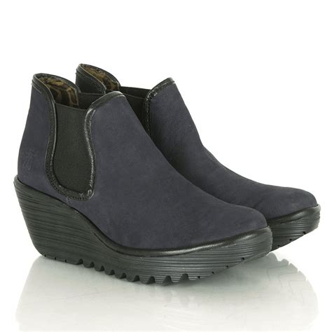 fly navy suede yat s wedge ankle boot