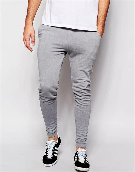 asos super skinny joggers  grey  men lyst