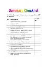worksheets summary checklist