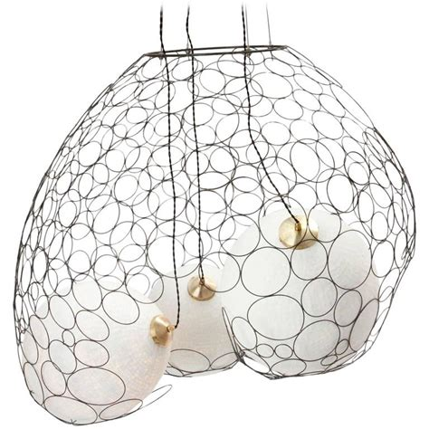 Handmade Paper L Shades - custom metal net with custom handmade paper pendant shades