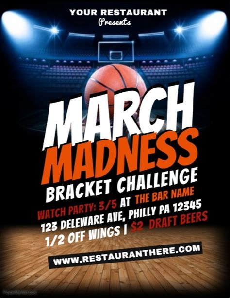 march madness basketball flyer template by
