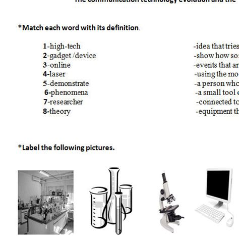 worksheets on science and technology science and technology worksheet