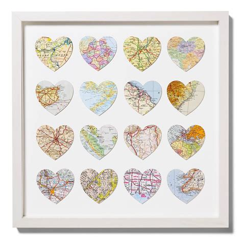Wedding Anniversary Locations by Sixteen Map Location Hearts Wedding Anniversary Print By
