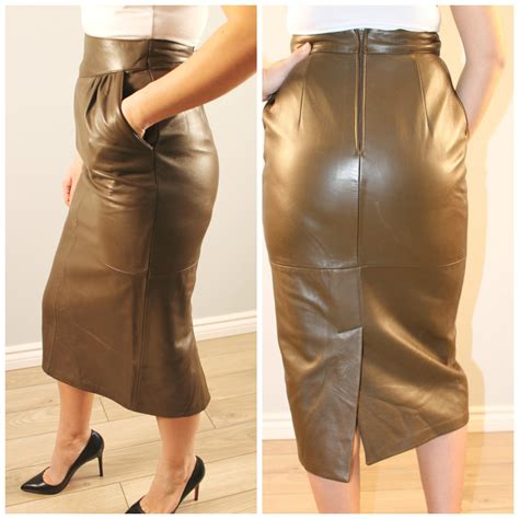 vintage leather skirt khaki green pencil skirt below knee