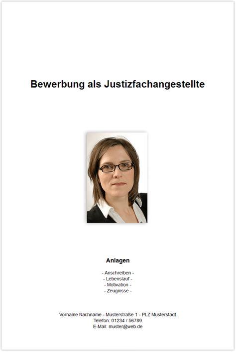 Bewerbung Anschreiben Muster Justizfachangestellte Bewerbungsdeckblatt Justizfachangestellte