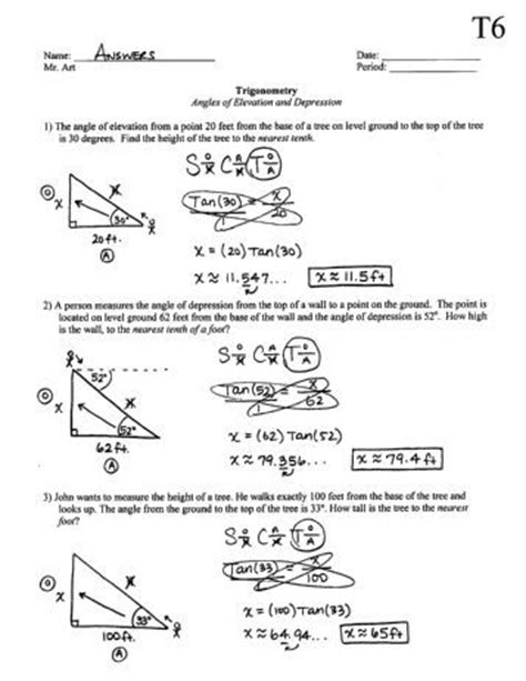 Angle Of Elevation And Depression Worksheet by Worksheet Angle Of Elevation And Depression Worksheet